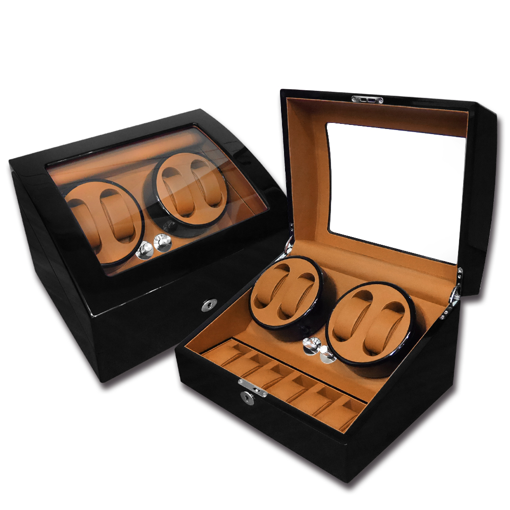 機械錶自動上鍊收藏盒 2旋4入錶座轉動+6入收藏鋼琴烤漆 - 黃棕x黑