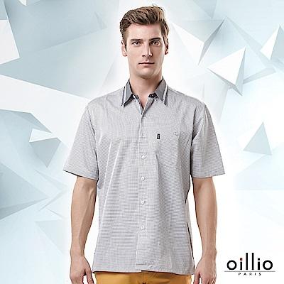 歐洲貴族oillio 短袖襯衫 細小格紋 休閒口袋 灰色