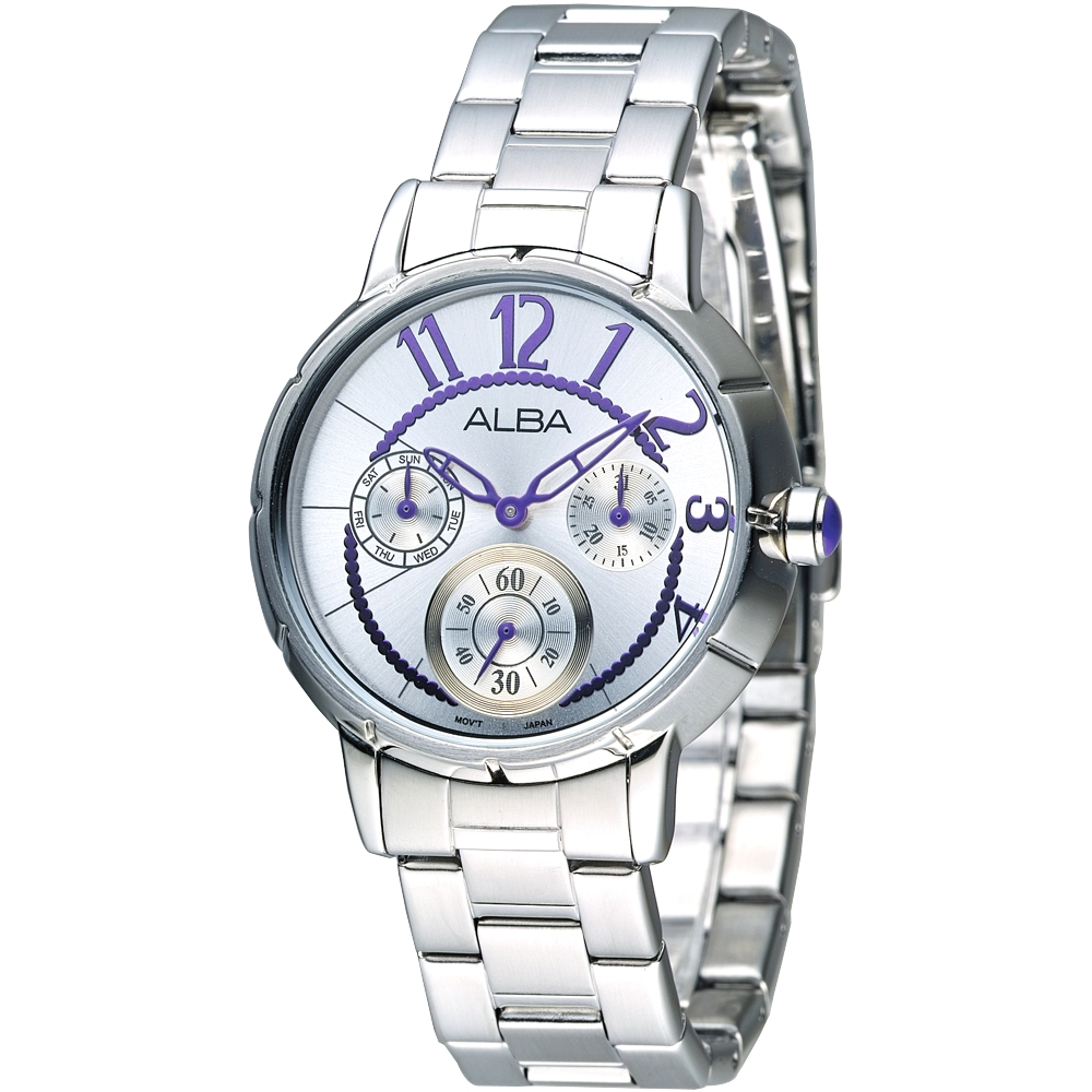 ALBA 俏麗圓點全日曆女錶(AP6031X1)-甜心紫刻度/35mm