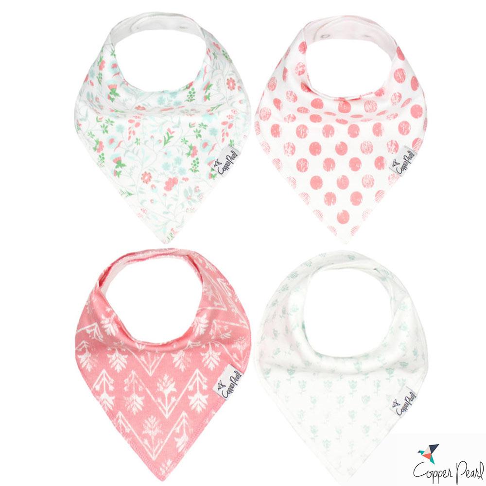 Copper Pearl 美國 綠粉花卉雙面領巾圍兜口水巾4件組
