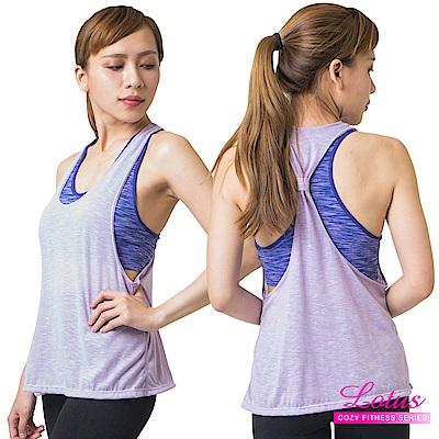 運動內衣 印染線條假兩件運動背心含內衣 優雅紫 LOTUS