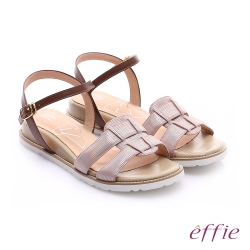 effie個性涼夏 絨面真皮圓楦羅馬小坡跟涼鞋 粉紅