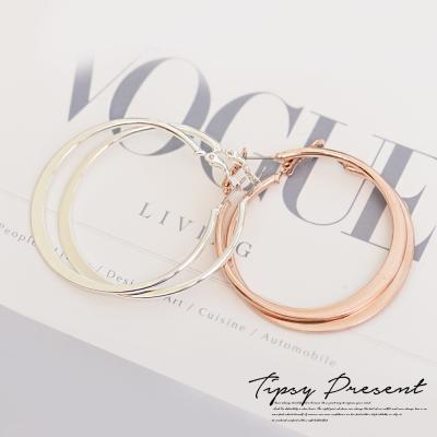 微醺禮物 鍍16K金 簡約 時尚圓形 耳環 兩色