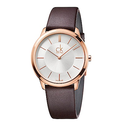 CK CALVIN KLEIN Minimal 系列時尚鍍PVD玫瑰金小牛皮錶帶手錶-40mm