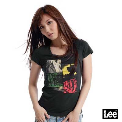【Lee】短袖圓領T恤-女款(黑)