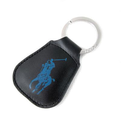 POLO RALPH LAUREN 藍色大馬Logo全皮革鎖圈(黑色)