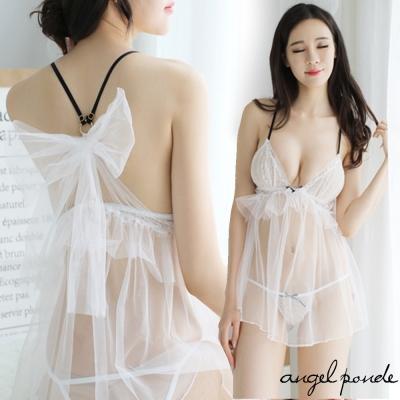情趣睡衣 背後大蝴蝶結成人禮物細肩帶誘惑透明睡裙-天使波堤
