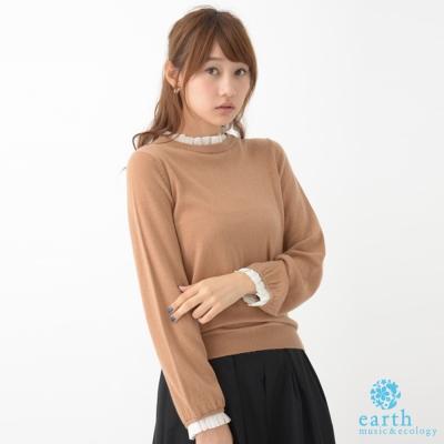 earth music 雪紡摺立領設計假兩件針織上衣