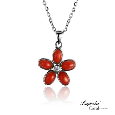 【大東山珠寶】全紅珊瑚閃耀項鍊墬飾 花心