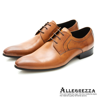 ALLEGREZZA-復古魅力-素面綁帶皮鞋-焦糖