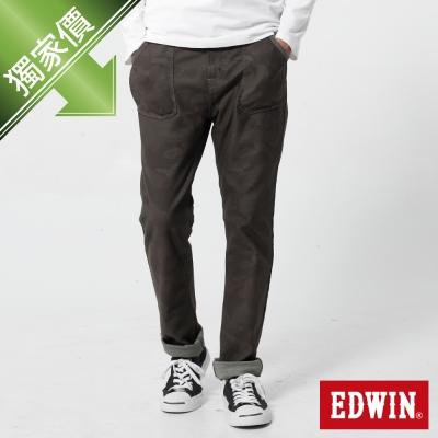 (威廉沈 直播款)EDWIN 窄直筒 迦績褲迷彩CARGO牛仔褲-男-迷彩綠