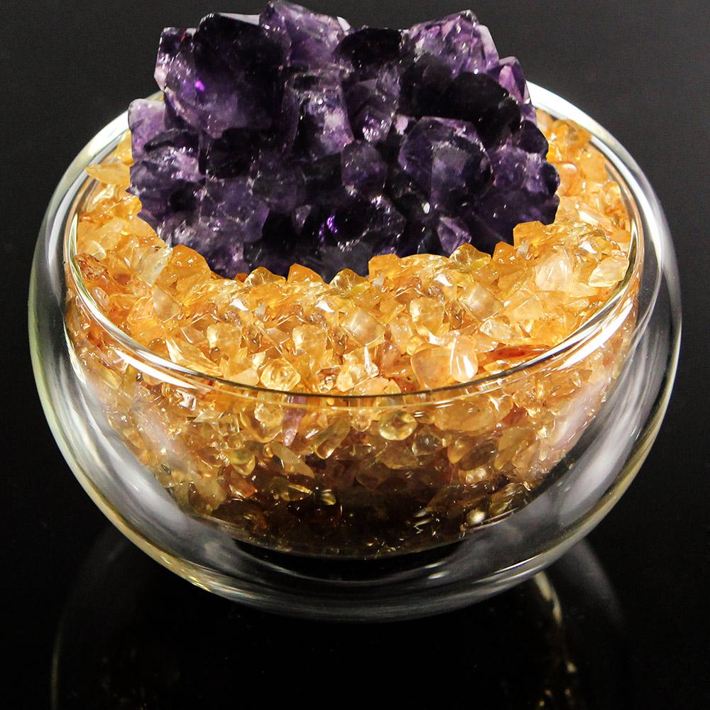 A1寶石  日本頂級天然紫水晶花/黃水晶聚寶盆-招財轉運居家風水必備(含開光加持)