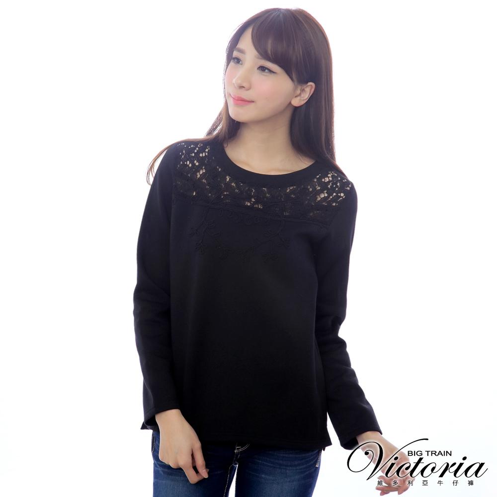 Victoria 蕾絲剪接織帶繡圖長袖T-女-黑