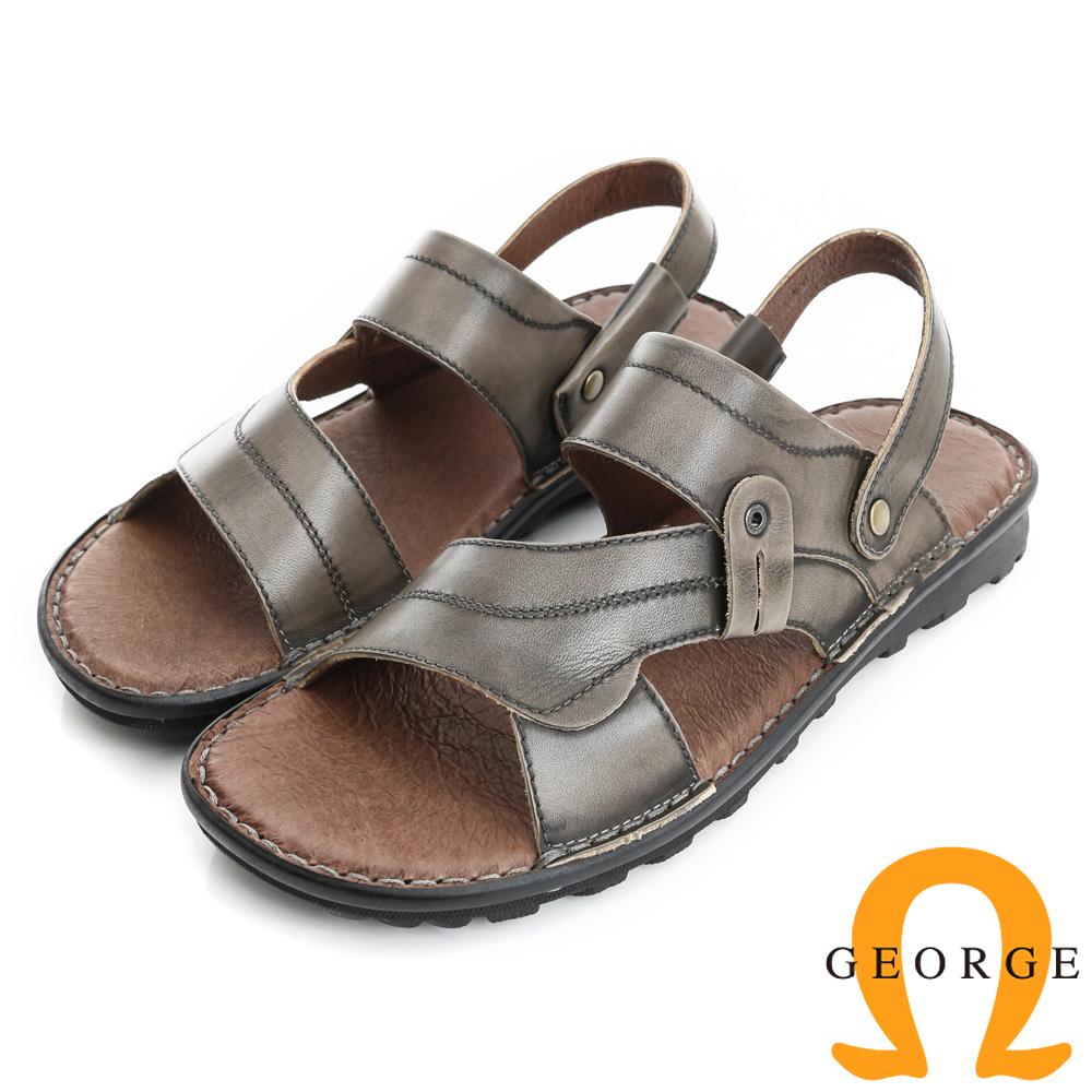 GEORGE 喬治-氣墊系列 可調式後帶仿舊真皮涼拖鞋(男)-灰色
