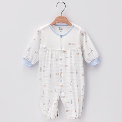 奇哥-彩條兔二穿式連身衣-藍色-3-12個月