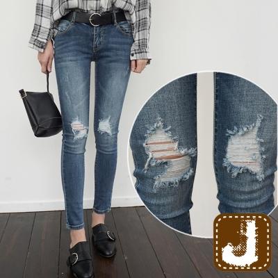 正韓-抽鬚破膝時尚緊身長褲-水洗藍-100-Korea-Jeans