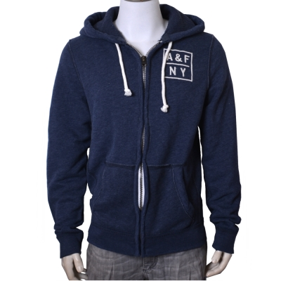 A&F Abercrombie & Fitch 刺繡LOGO內刷毛連帽外套-藍