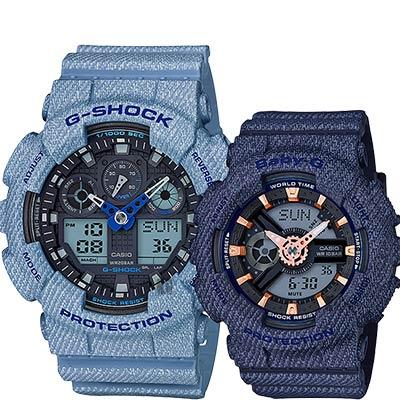CASIO卡西歐 限量丹寧情侶對錶-淺x深藍/55+46.3mm