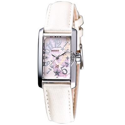 ORIENT iO系列 閃耀之星皮帶腕錶-白/ 19 x 25 mm