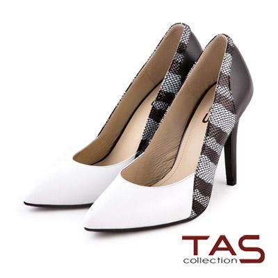TAS-金屬華麗感蛇紋拼接尖頭高跟鞋-獨特白