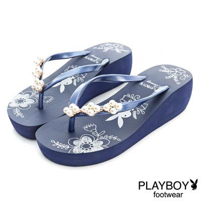 PLAYBOY浪漫典雅 花朵珍珠厚底夾腳拖鞋-藍(女)