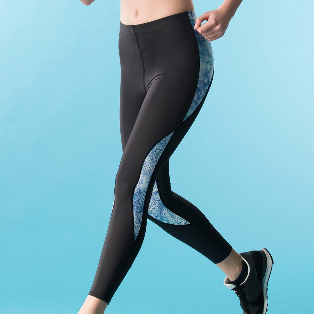華歌爾-專業運動  M-2L 長版壓力褲(藍)吸濕快乾