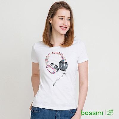 bossini女裝-印花短袖T恤31白
