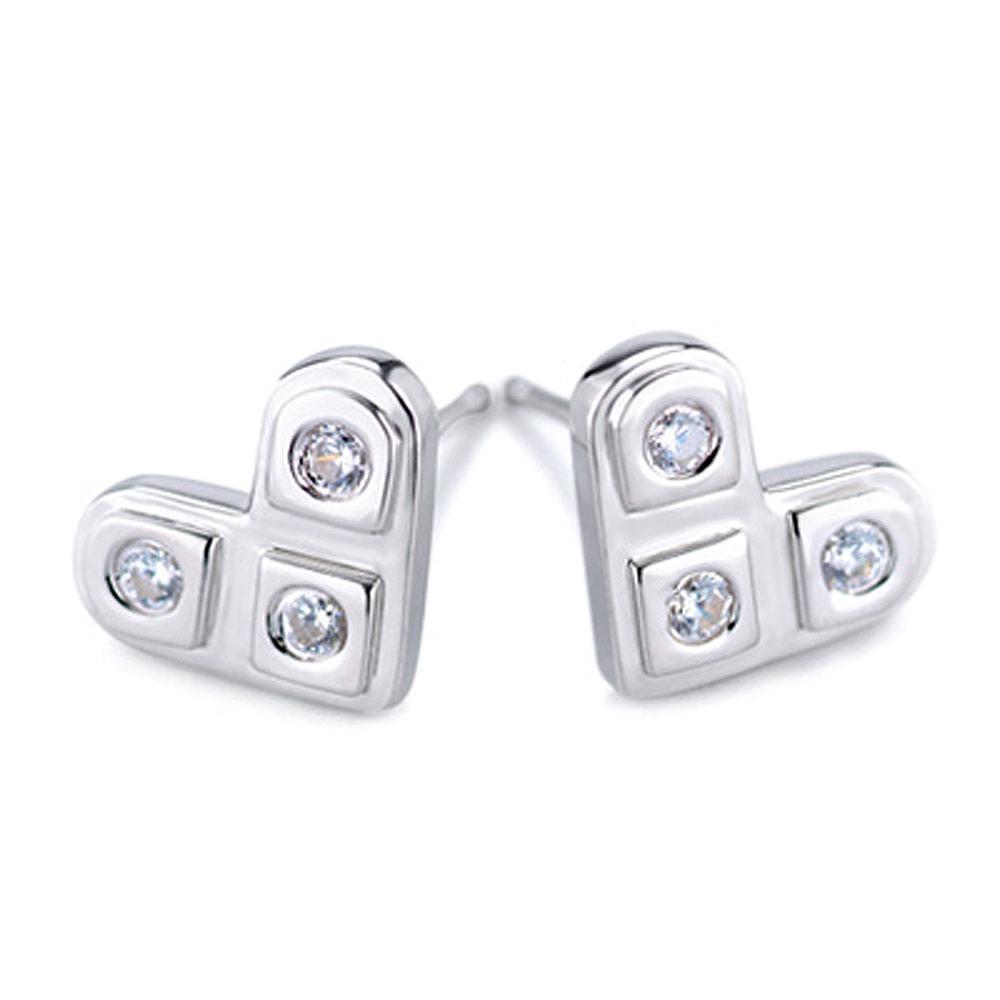 【YUME】三星二意小耳環─白K金色
