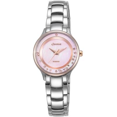 LICORNE 永恆時光真鑽系列 天使光環璀璨手錶-玫瑰金x粉紅/30mm