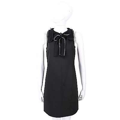 ELISABETTA FRANCHI 撞色線條鑲滾蝴蝶結深V背絲質洋裝