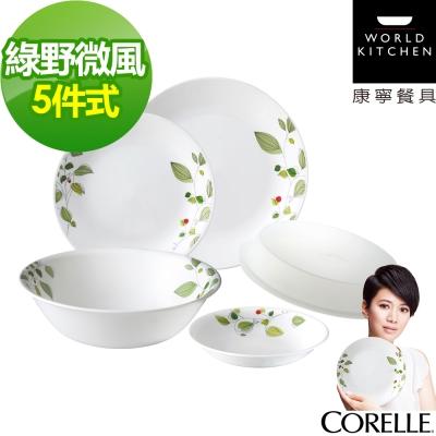 CORELLE-康寧-綠野微風5件式餐盤組-501