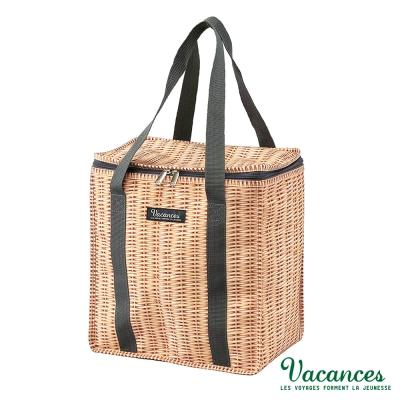 【日本 VACANCES】戶外郊遊 田園竹編風 棕色 保溫 保冷 輕巧 手提野餐袋