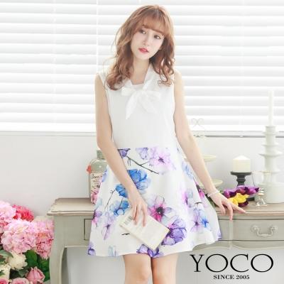 東京著衣-yoco 領口綁帶拼接花朵洋裝-XS.S.M(共二色)