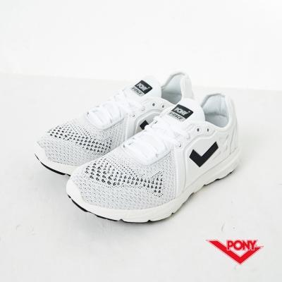 PONY-V-Race-Bay-高彈動能針織慢跑鞋-白-女性