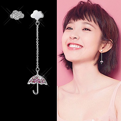 梨花HANA 韓國925銀晴天娃娃雲朵桃紅鑽耳環