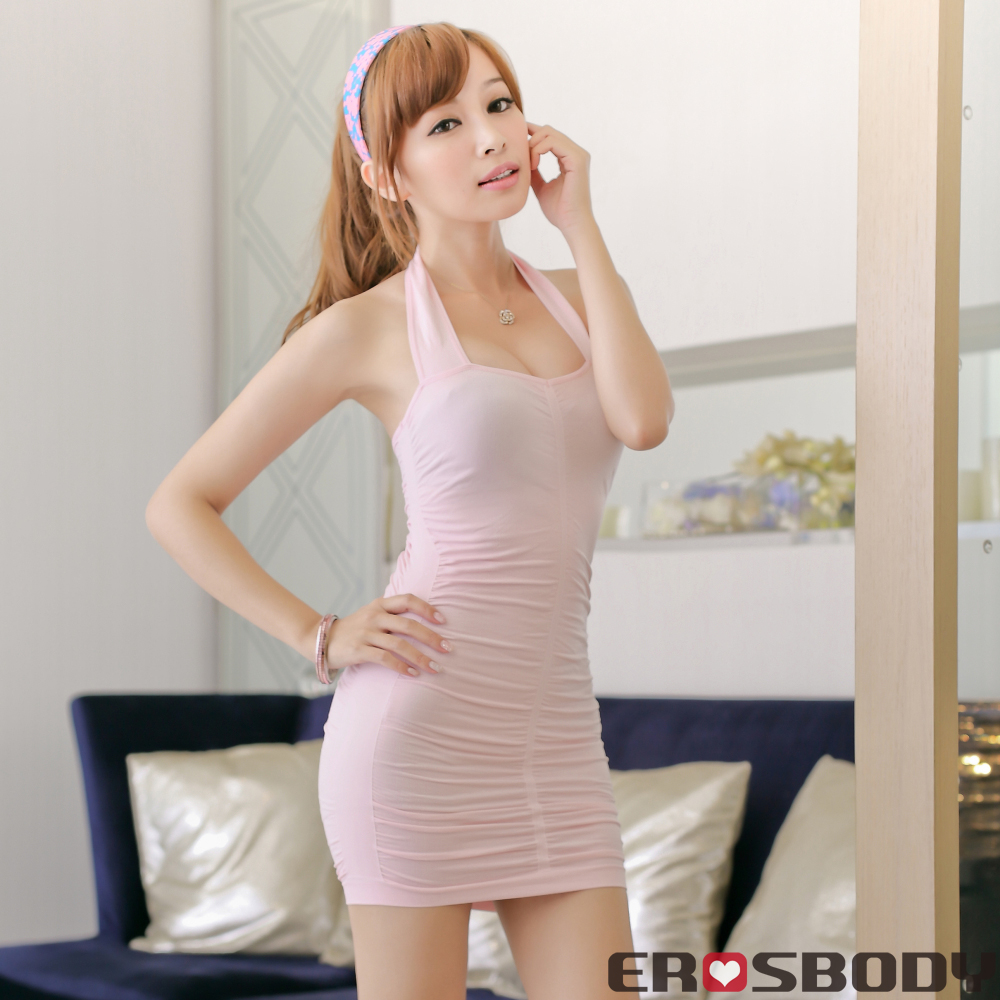 EROSBODY 艾若斯健美  女士繞頸皺折連身塑身衣(粉紅色)
