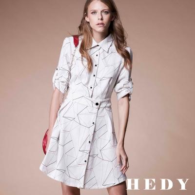 Hedy赫蒂 不對稱排釦反褶洋裝(藍色)