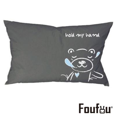 Foufou 抱枕套-手牽手睡覺 熊 灰黑色(單人枕套)