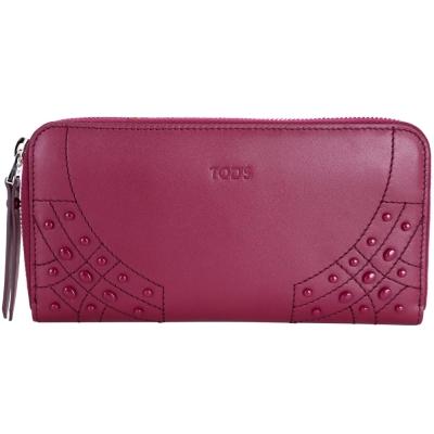 TOD'S 豆豆車縫牛皮拉鍊長夾(莓紅色)