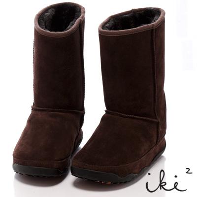 iki2魅力滿載-機能性美腿麂皮雪靴-長筒-深咖