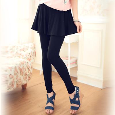【La Belleza】修飾感‧荷葉波浪裙擺層次假兩件棉質內搭褲