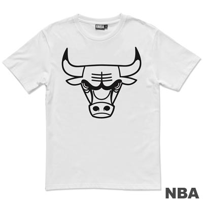 NBA-芝加哥公牛隊單色印花短袖T恤-白(男)