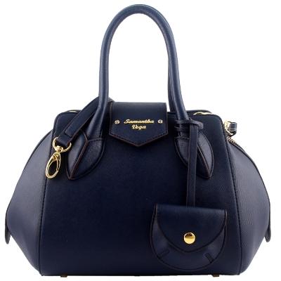 SamanthaThavasa 藍色防刮皮革鵝卵型斜背/手提包