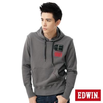 EDWIN自信敏銳-E字貼布繡連帽T恤-男款-灰色