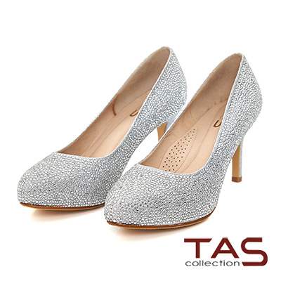 TAS 華麗水鑽光澤感高跟鞋-璀璨銀