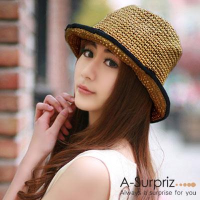 A-Surpriz-休閒風情麻編遮陽帽-深咖