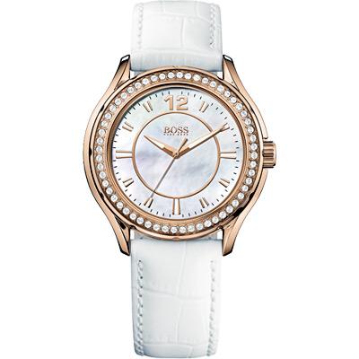 Hugo Boss 美麗翹佳人珍珠晶鑽腕錶-白/玫塊金框/38mm