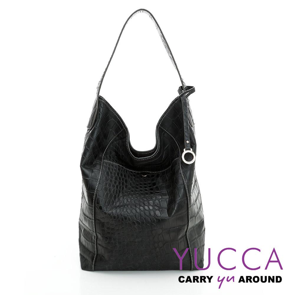 YUCCA -個性鱷魚紋牛皮水桶包 -黑色-D0044001C56