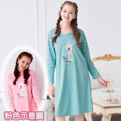 睡衣 精梳棉柔針織 長袖連身睡衣(65205)粉色 蕾妮塔塔