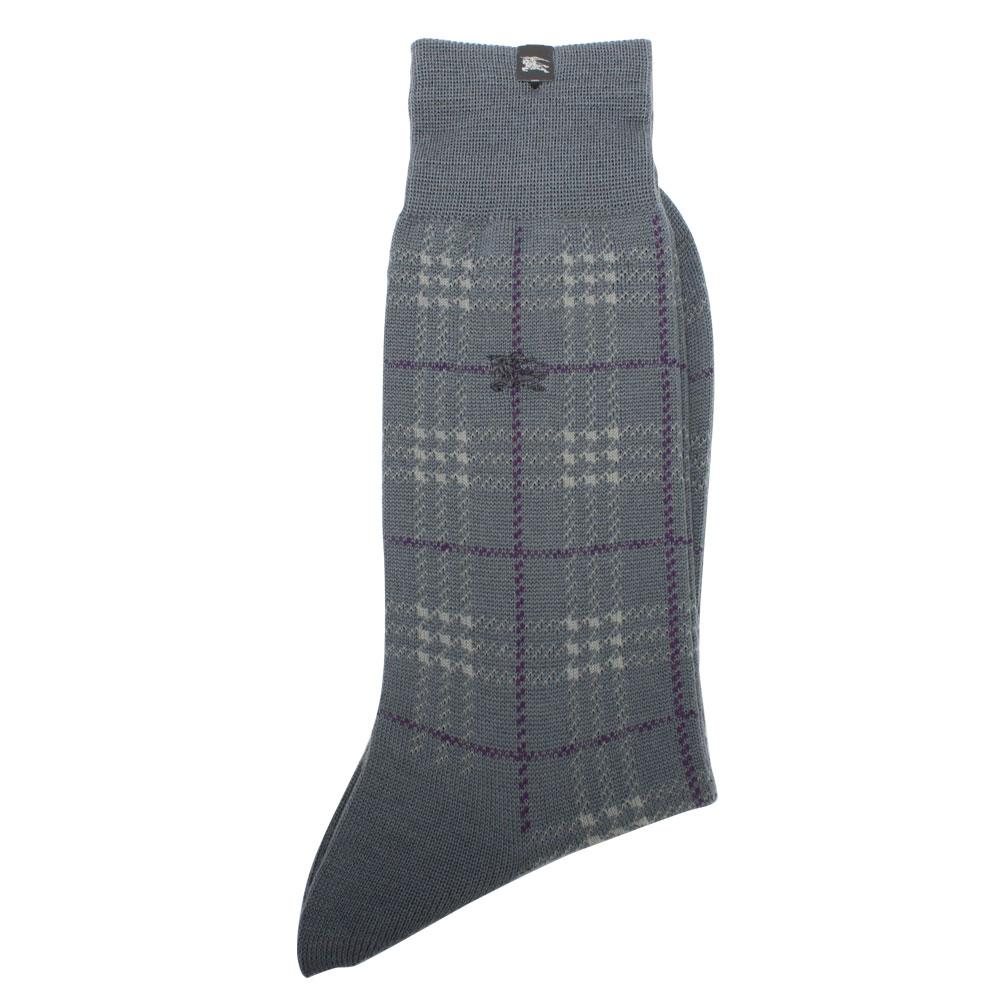 BURBERRY 毛料格紋刺繡戰馬LOGO紳士襪-灰藍/紫色
